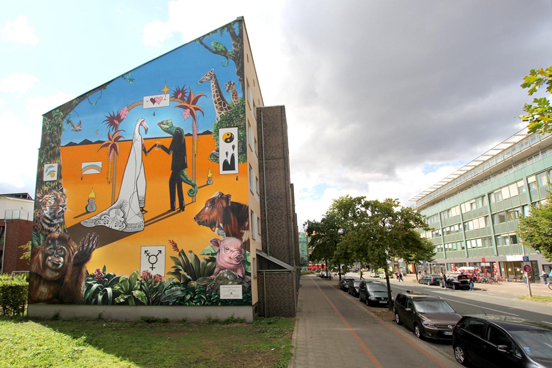 Mural für das Hola-Utopia Street Art Festival