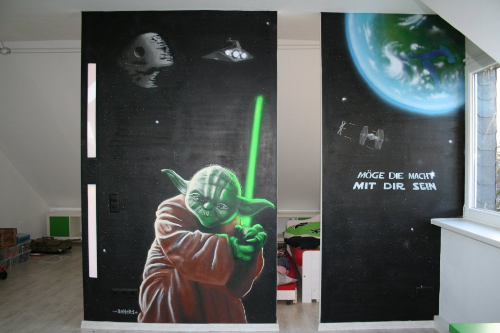Innenraumgestaltung mit graffiti for Star wars tapete kinderzimmer