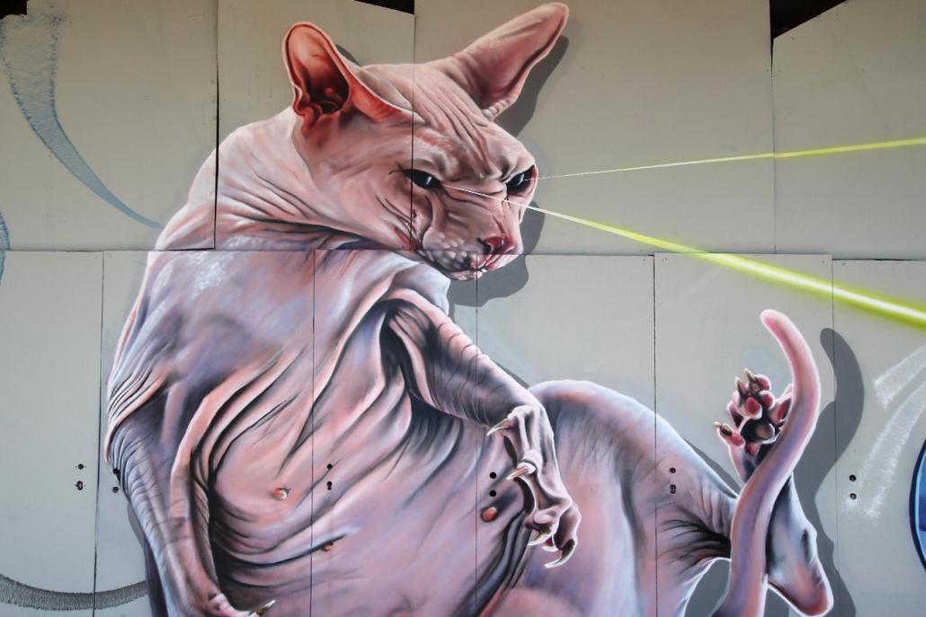 Mural einer Nackkatze