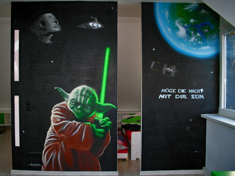 star wars graffiti im kinderzimmer bener1 graffiti k nstler. Black Bedroom Furniture Sets. Home Design Ideas